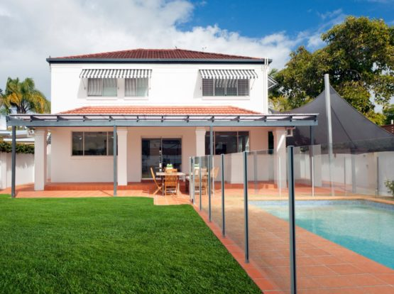 Glass Pool Fencing Campbelltown with house in the background